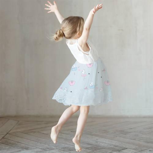 Mousseline crêpe gris bleu motif danseuse étoile