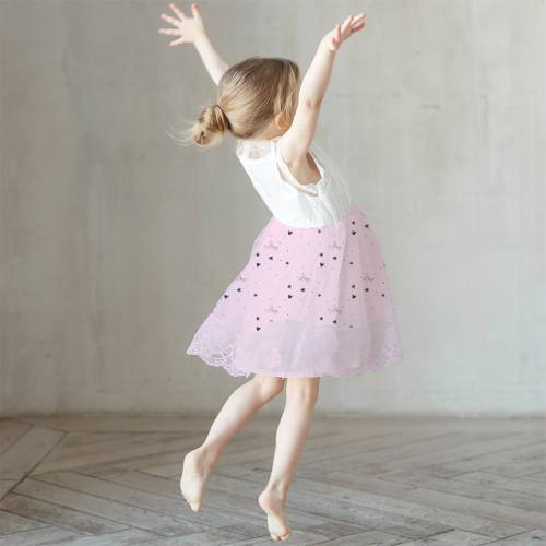 Mousseline crêpe rose motif ballerine étoile