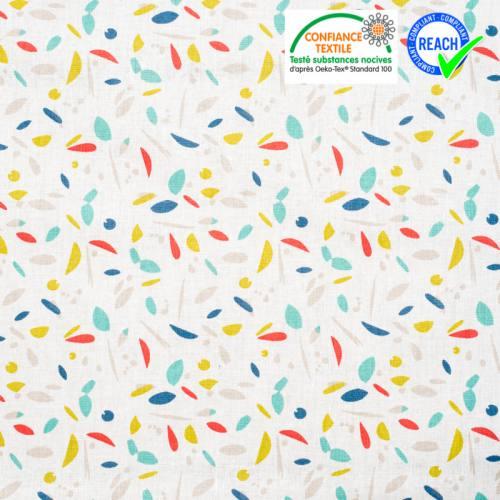 Coton blanc motif marni menthe et corail