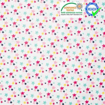 Coton blanc motif étoile rose verte jaune luxina