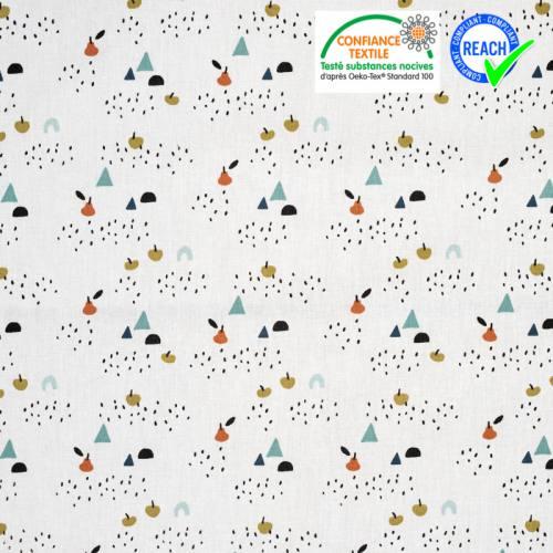 Coton blanc motif pomme poire oboe