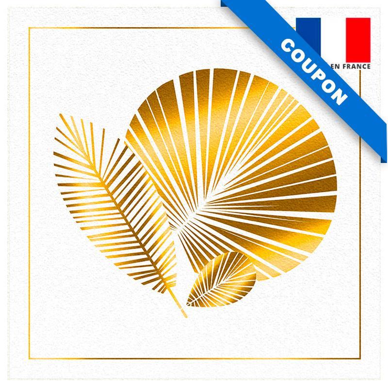 Coupon velours ras imprimé feuille art déco écru gold