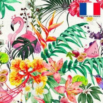 Velours ras écru motif fruit tropical