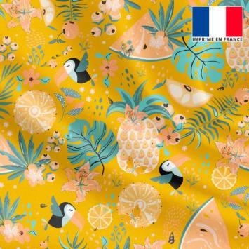 Satin ocre motif toucan et pastèque tropicale