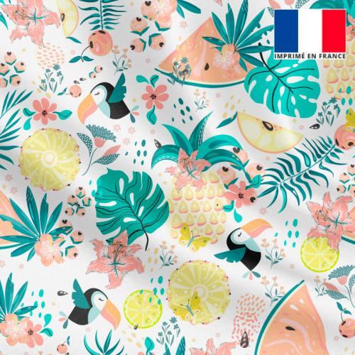 Satin écru motif toucan et pastèque tropicale