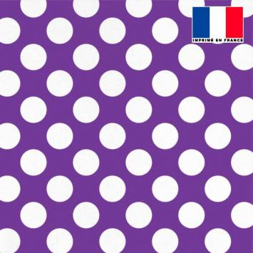 Lycra violet motif pois blanc