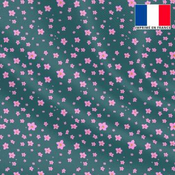 Tissu microfibre bleu horizon motif prairie fleurie parme