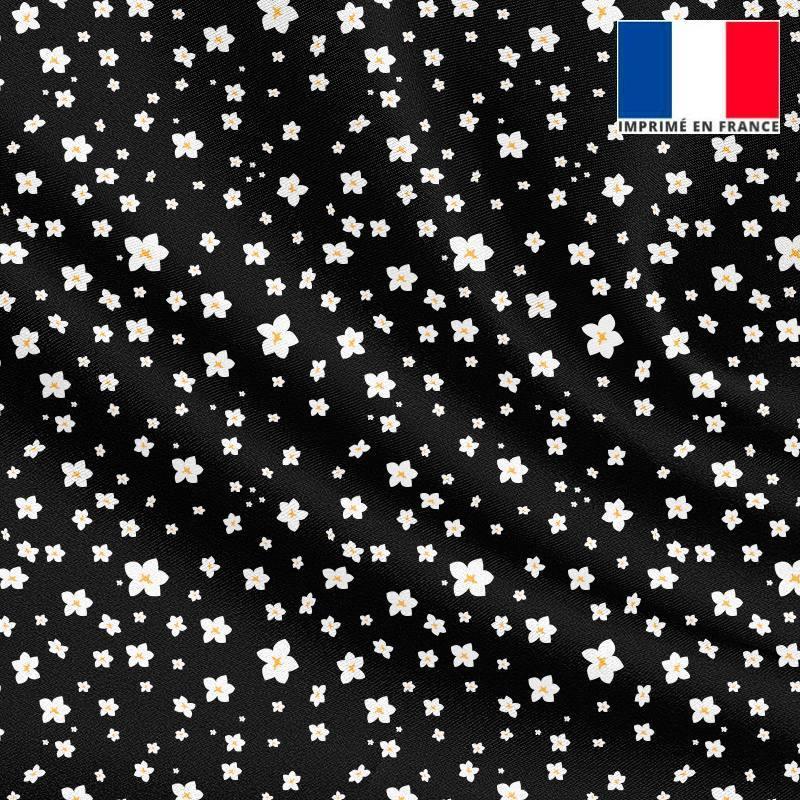 Tissu microfibre noir motif prairie fleurie blanche