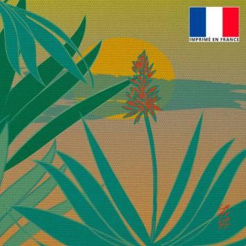 Coupon 45x45 cm toile canvas Aloès dans jardin - Création Chaylart