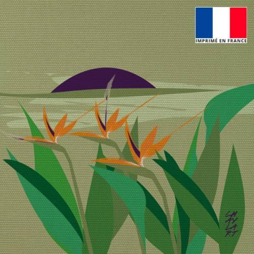Coupon 45x45 cm toile canvas Oiseaux de Paradis - Création Chaylart