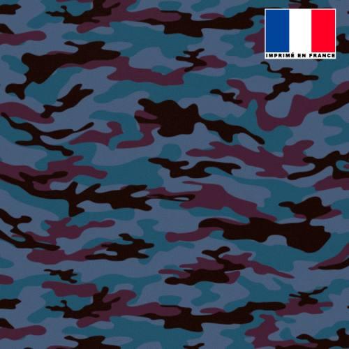 Maille scuba bleu turquin imprimée camouflage bordeaux et noire
