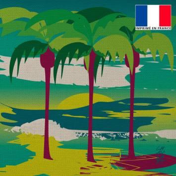 Coupon 45x45 cm toile canvas Plage des Palmiers - Création Chaylart