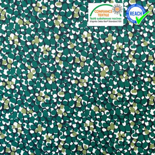 Coton bleu nuit motif muchino vert