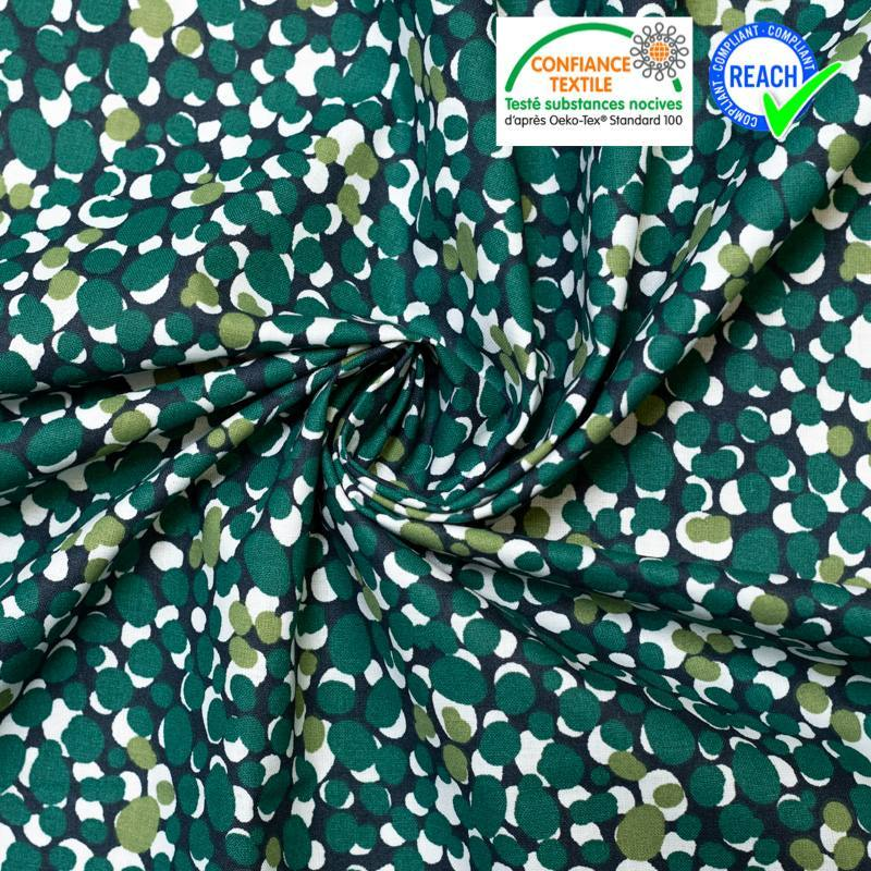 Coton bleu nuit motif rond vert muchino