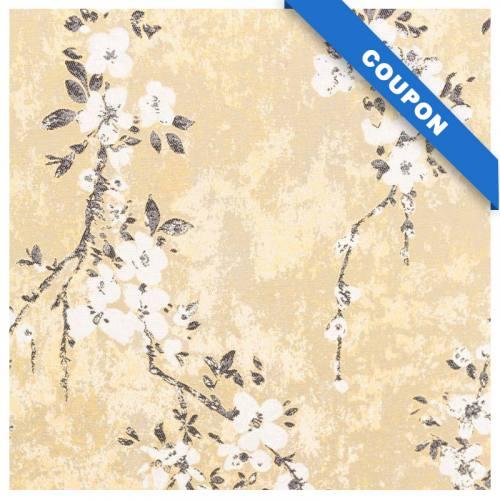 Coupon 50x70 - Jacquard jaune motif fleurs de pommier blanches