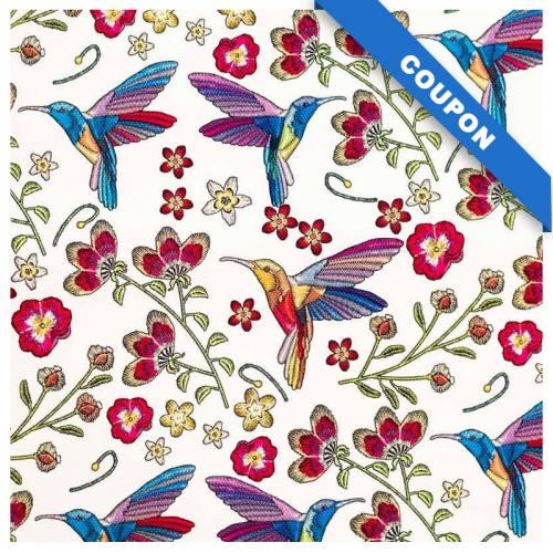 Coupon 50x68cm - Simili cuir écru motif colibri et fleur effet brodé