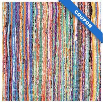 Coupon 50x68cm - Simili cuir motif tissage multicolore