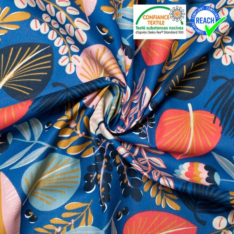 Coton bleu motif grosse fleur rose khopical