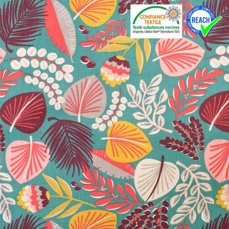 Coton vert émeraude motif grosse fleur rouge khopical