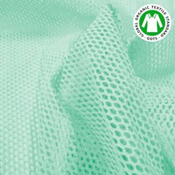 Tissu filet mesh vert menthe en coton bio
