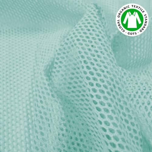 Tissu filet mesh bleu clair en coton bio