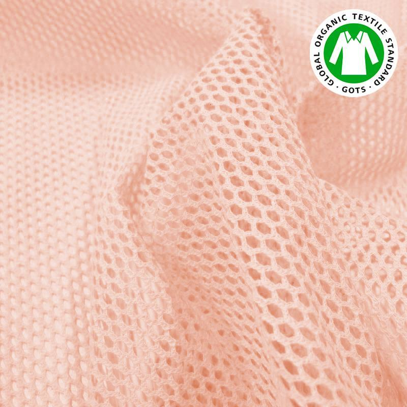 Tissu filet mesh rose dragée en coton bio