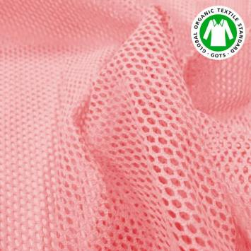 Tissu filet mesh rose bonbon en coton bio
