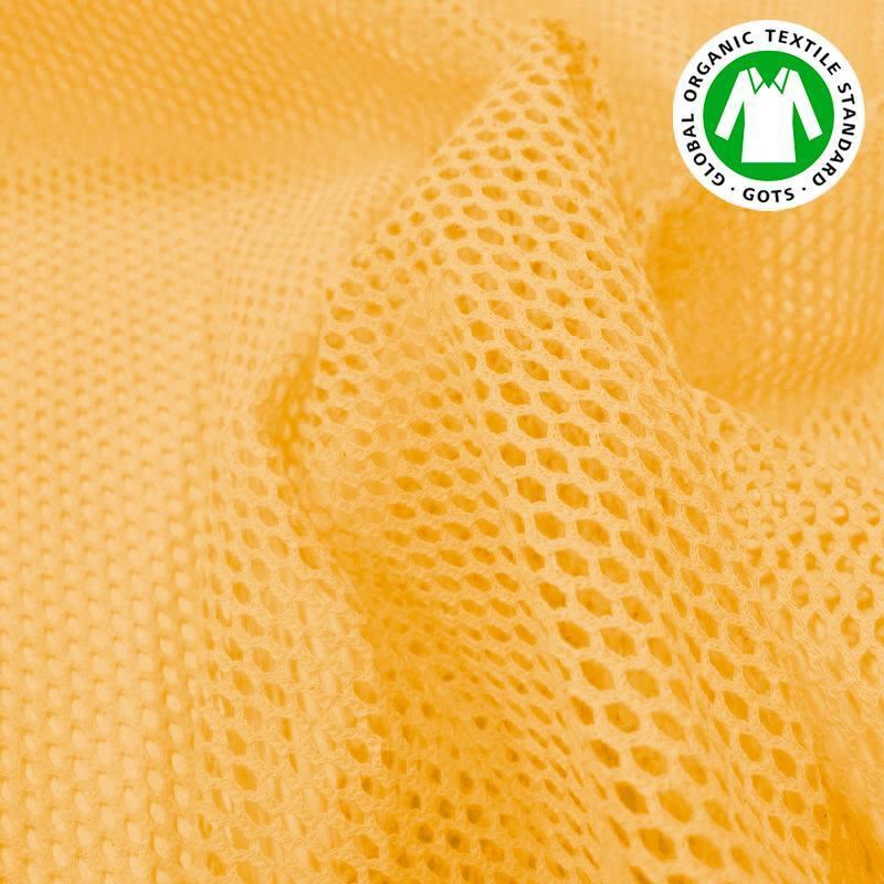 Tissu filet mesh jaune en coton bio