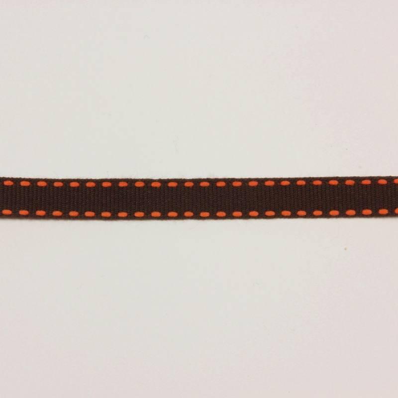 Galon tiret marron et orange 1 cm