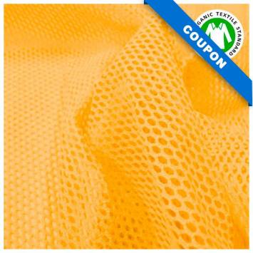 Coupon 85x50 cm - Tissu filet mesh coton bio jaune