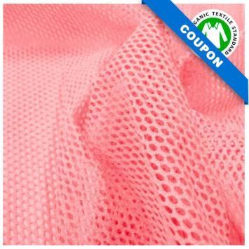 Coupon 85x50 cm - Tissu filet mesh rose bonbon coton bio