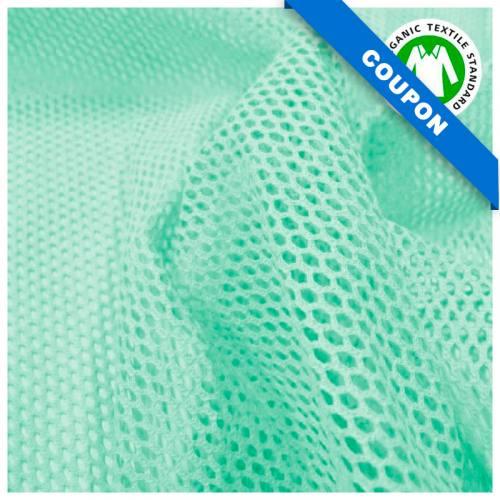 Coupon 85x50 cm - Tissu filet mesh vert menthe en coton bio