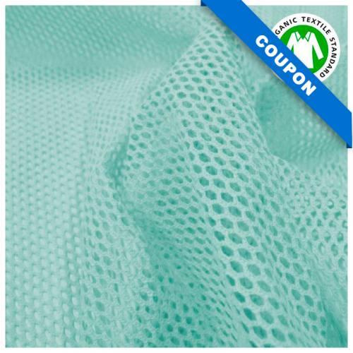 Coupon 85x50 cm - Tissu filet mesh bleu clair coton bio