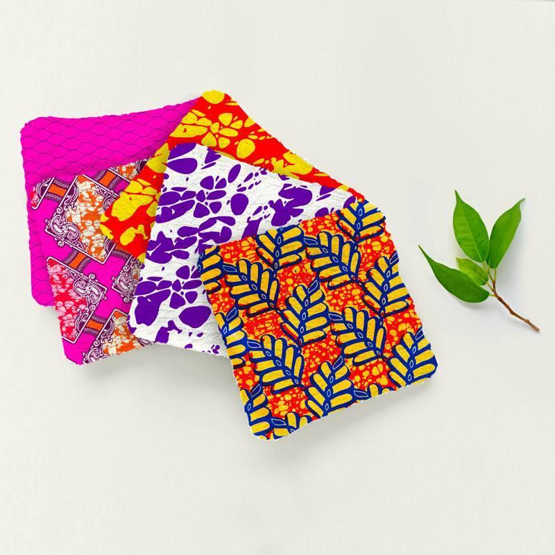 Coupon éponge pour lingettes démaquillantes motif wax multicolore