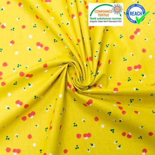 Coton jaune motif pollen rouge nozbi