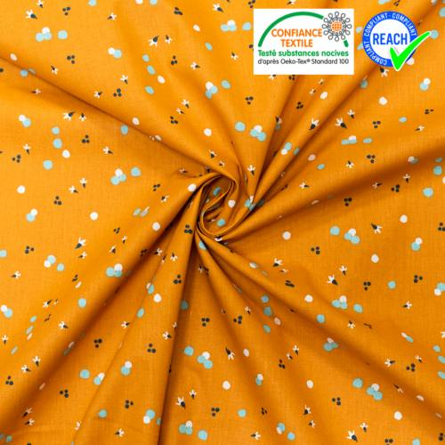 Coton orange motif pollen bleu nozbi