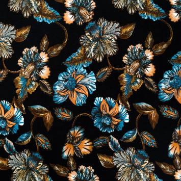 Jersey viscose noir motif grande fleur orange et bleue