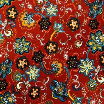 Jersey viscose rouge motif fleur cachemire orange et bleue