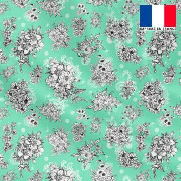 Tissu microfibre vert d'eau motif floral fond cachemire