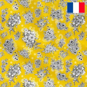 Tissu microfibre jaune motif floral fond cachemire
