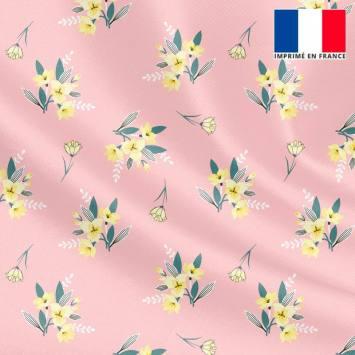 Tissu microfibre rose motif petit bouquet de fleurs jaunes