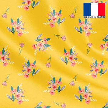 Tissu microfibre jaune motif petit bouquet de fleurs roses