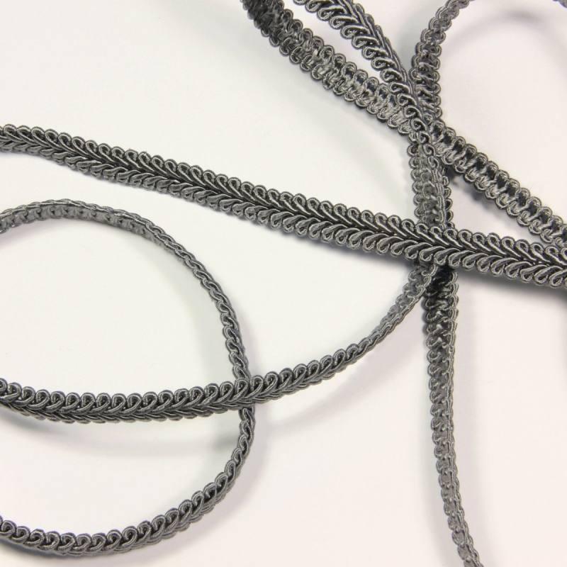 Ruban tressé gris 10 mm