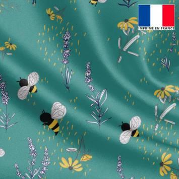 Satin vert motif bouton d'or lavande et abeille