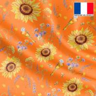 Satin orange abricot motif tournesol jaune soleil