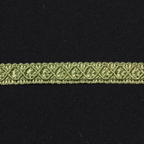 Ruban 12 mm vert olive à motifs