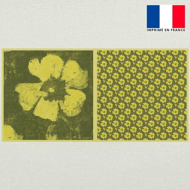 Coupon velours ras vert motif fleur de tiaré jaune et fermeture offerte - Création Marie-Eva