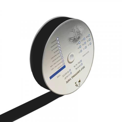 Rouleau 25m Auto-agrippant à coudre crochet 30 mm noir