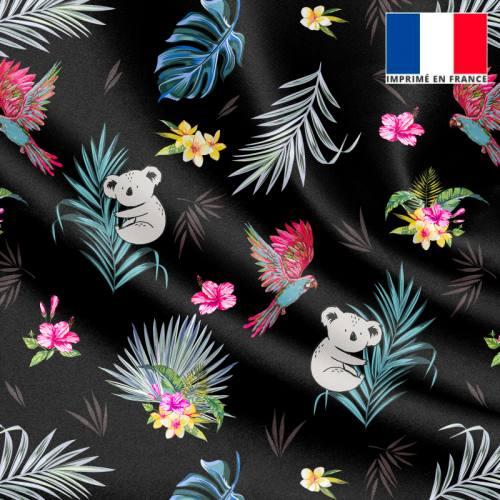 Satin noir motif koala et feuille de palmier