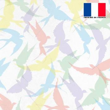 Mousseline crêpe écru motif hirondelles multicolores
